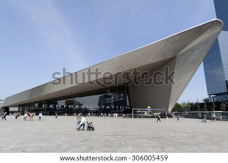 Rotterdam , Netherlands-august 13, 2015: Facade of the central station in Rotterdam