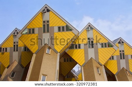 ROTTERDAM - NETHERLANDS  ; Cube houses in the centre of Rotterdam on 12 september 2015.  - stock photo