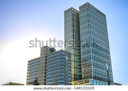 ROTTERDAM, NETHERLANDS - DECEMBER 27, 2016: Modern buildings of business center close-up modern architecture. December 27,2016 in Rotterdam - Netherlands.