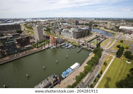 Rotterdam, Netherlands - June 29: Aerial view of Rotterdam, Netherlands on June 29, 2014. Rotterdam is a city defined by modern architecture.