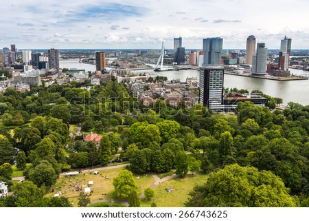 Rotterdam, Netherlands - June 29: Cityscape from the Euromast tower in Rotterdam, Netherlands on June 29, 2014. - stock photo