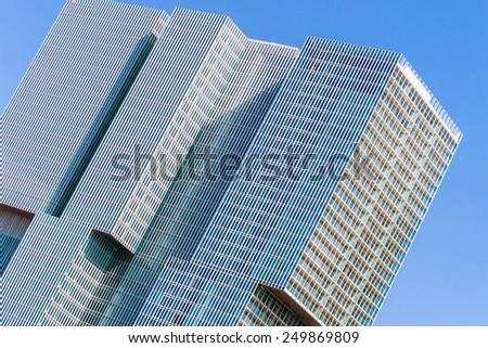 "Rotterdam, Netherlands - June 21st, 2014: Partial view of modern high-rise complex ""De Rotterdam"" as a concept of a ""vertical city"" - stock photo"