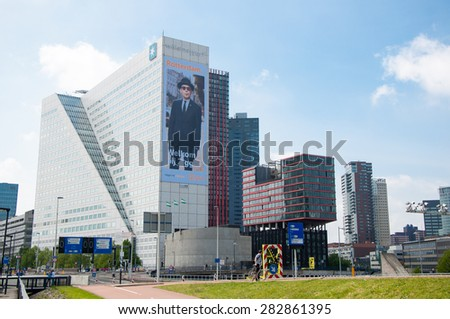 ROTTERDAM, NETHERLANDS: MAY 10, 2015: Famous business buildings - Willems Wert, opposite Erasmus bridge on 10 May, 2015.
