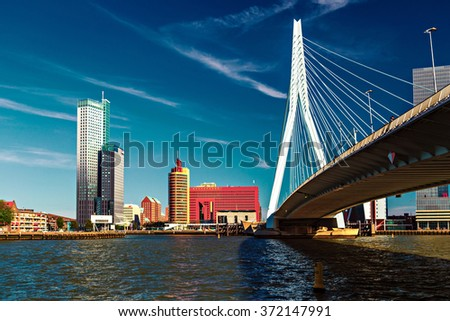 ROTTERDAM, NETHERLANDS - 24 MAY 2015: Lomograph view of Erasmus Bridge in Rotterdam, Netherlands during a sunny clear day - stock photo