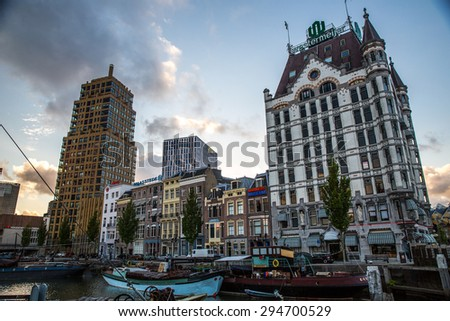 Rotterdam, Netherlands - May 25, 2015: View of the White House, the first skyscraper in Europe, built in 1898 in the Art Nouveau style.