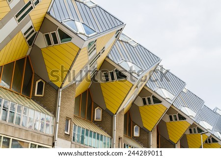 ROTTERDAM, NETHERLANDS - NOVEMBER 10: The famous cube houses designed by Piet Blom on November 10, 2014 in Rotterdam, Netherlands. They represents a village where each house is a tree. - stock photo
