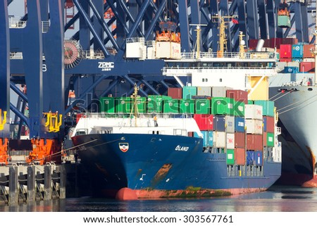 ROTTERDAM, NETHERLANDS - SEP 8, 2012: Container cranes loading a ship in the port of Rotterdam. This port is the Europe's largest and facilitate the needs of a hinterland with 40,000,000 consumers. - stock photo