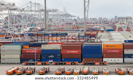 ROTTERDAM, NETHERLANDS - SEP 6, 2015: ECT Container terminal in the Port of Rotterdam. The port is the largest in Europe and facilitate the needs of a hinterland with 40,000,000 consumers.  - stock photo