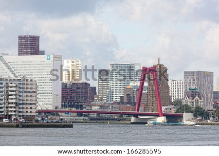 ROTTERDAM, NETHERLANDS - SEPT 28. City views Rotterdam, Nideranda, September 28, 2012. population of the city of 617347 inhabitants  it is second for number of inhabitants the city in the Netherlands