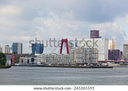 ROTTERDAM, NETHERLANDS - SEPTEMBER 28, 2012. City views Rotterdam. The population of the city of 617 347 inhabitants, it is the second for number of inhabitants the city in the Netherlands