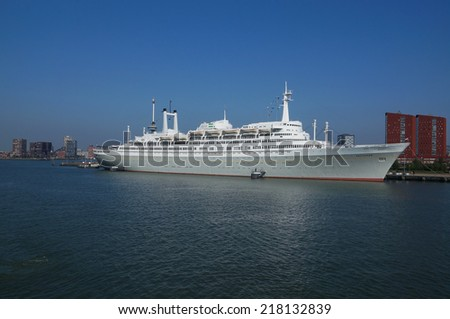 ROTTERDAM, NETHERLANDS - SEPTEMBER 17, 2014:  SS Rotterdam on September 27, 2014 in Rotterdam. The retired SS Rotterdam now serves as a hotel, museum and tourist attraction. - stock photo