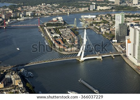 Rotterdam, 10 September 2015, Aerial photo of the Erasmus bridge and the Noordereiland in the river Maas. - stock photo