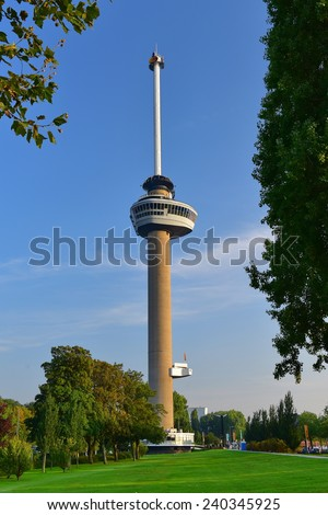ROTTERDAM - SEPTEMBER 17:  Euromast observation tower built specially for the 1960 Floriade, taken on September 17, 2014 in Rotterdam, Netherlands - stock photo