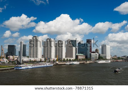 Rotterdam skyline and the meuse river the Netherlands, Europe - stock photo
