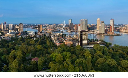 Rotterdam skyline as seen from the Euromast tower, The Netherlands - stock photo