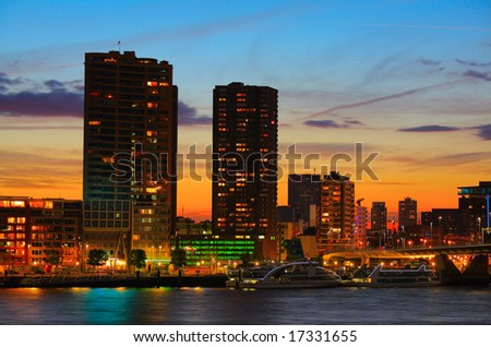 Rotterdam skyline at sunset - stock photo
