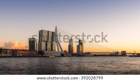 Rotterdam Skyline at Sunset, The Netherlands - stock photo