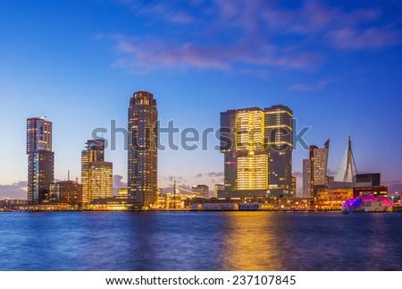 Rotterdam Skyline at Twilight, Zuid Holland, The Netherlands. - stock photo