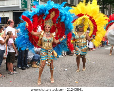 ROTTERDAM - SUMMER CARNIVAL, JULY 26, 2008. Carnival dancers in the parade at the Caribbean Carnaval in Rotterdam.