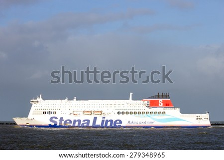 ROTTERDAM, THE NETHERLANDS - JAN 13, 2012: The Stena Hollandica leaves Hoek van Holland for Harwich, England. Founded in 1962, Stena Line now operates 35 ships. - stock photo