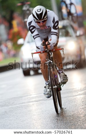ROTTERDAM, THE NETHERLANDS - JULY 3 : Tour de France - annual bicycle race. Cyclist during the first day of competition - prologue race on the city streets on July 3, 2010 in Rotterdam - stock photo