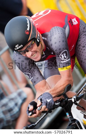 ROTTERDAM, THE NETHERLANDS - JULY 3 : Tour de France - annual bicycle race. Lance Armstrong during the first day of competition - prologue race on the city streets on July 3, 2010 in Rotterdam