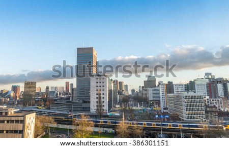 ROTTERDAM, THE NETHERLANDS - MARCH 4, 2016: View of Rotterdam city centre in The Netherlands. Rotterdam is a large city in the Netherlands with one of the biggest harbours in the world. - stock photo
