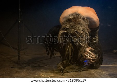 ROTTERDAM, THE NETHERLANDS - SEPTEMBER 19, 2015 - Laurent Lunoir of Igorrr performs live on stage at Baroeg Open Air festival