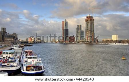 Rotterdam. Urban development along the river Meuse - stock photo