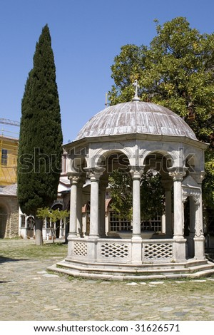 Rotunda and cypress in Monastery Iviron, Athos, Greece