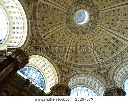 Rotunda ceiling in the reading room on the library of congress in Washington DC. - stock photo