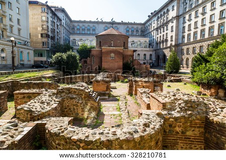 Rotunda, church of saint George, oldest church in Sofia, Bulgaria in a summer day - stock photo