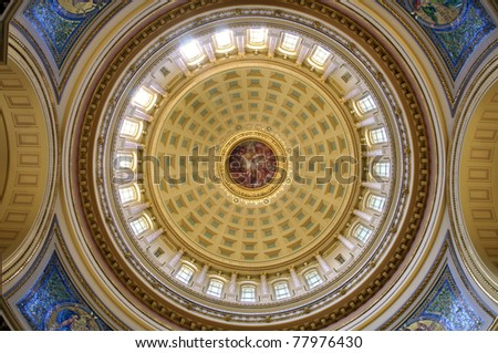 Rotunda interior of Madison state capitol in Wisconsin - stock photo