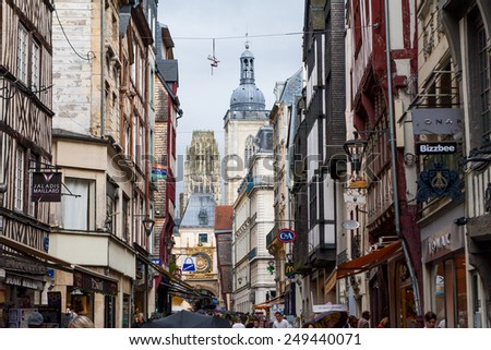 ROUEN, FRANCE - AUGUST 22: The Church of St. Ouen, a large Gothic Roman Catholic church in Rouen on August 22, 2014. Rouen is a city on the River Seine in the north of France.  - stock photo