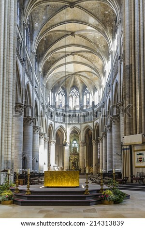 ROUEN, FRANCE - JULY 17, 2012: Interior of Rouen Cathedral (Notre-Dame, 1202 - 1880). Rouen in northern France on River Seine - capital of Upper Normandy region and historic capital city of Normandy.