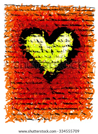 Rough background with a heart image. - stock photo
