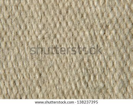Rough beige camel wool fabric texture taken closeup as background. - stock photo