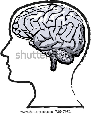Rough but thoughtful sketch-like grunge of human brain in a silhouette head - stock photo