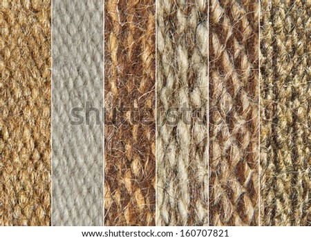 Rough camel wool fabric texture pattern collage as background. - stock photo