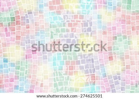 rough colorful mosaic tile wall in bathroom