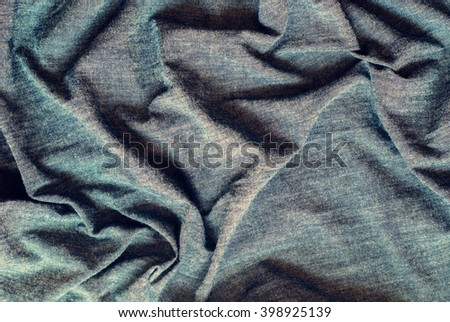 Rough Crumpled Gray Blue Material Texture Fabric Grey Textile Pattern Background - stock photo