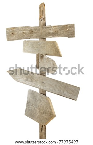 Rough hewn wood signs pointing in various directions
