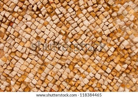 rough mosaic wall with diagonal pattern - stock photo
