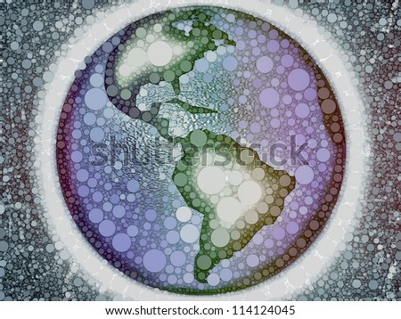 Rough representation of of the planet earth composed of multicolor circles, referring to notions such as world, geography, globalization, as well as environmental issues - stock photo