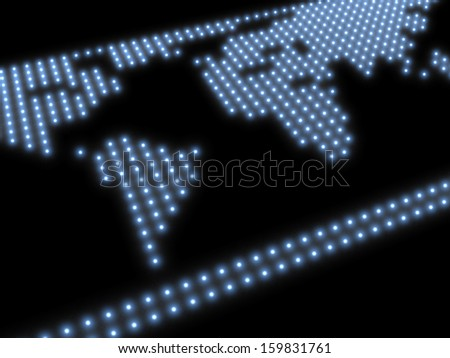 Rough representation of the world map, composed of blue glowing spots on a black background, referring to concepts such as globalization, international issues, worldwide trade and business travels - stock photo