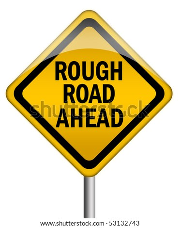 Rough road ahead sign - stock photo