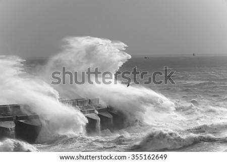Rough Sea at Brighton Marina UK after a big Storm