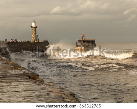 Rough Seas in the Harbour entrance at historic Whitby in North Yorkshire