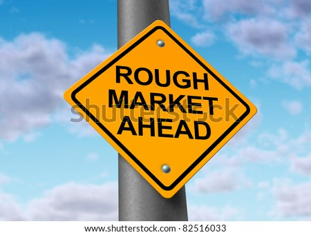 Rough stock market ahead road symbol representing the volatile swings and corrections in the equities trading of wall street and all exchanges of  business funds. - stock photo