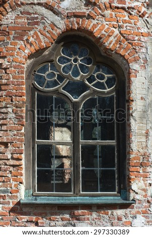 Rough Stuccoed Wall with  Aging and Weathered Window - stock photo